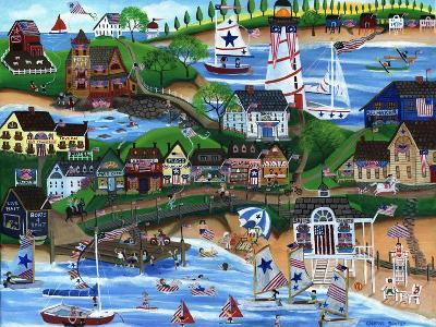 Old New England Seaside 4th of July Celebration-Cheryl Bartley-Giclee Print