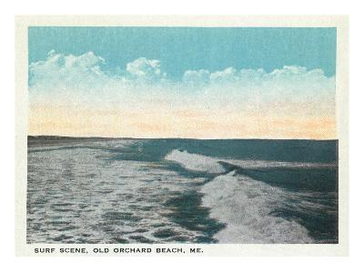 Old Orchard Beach, Maine - View of Surf-Lantern Press-Art Print