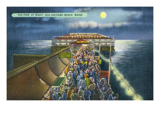 Old Orchard Beach, Maine, View of the Pier in the Moonlight-Lantern Press-Art Print