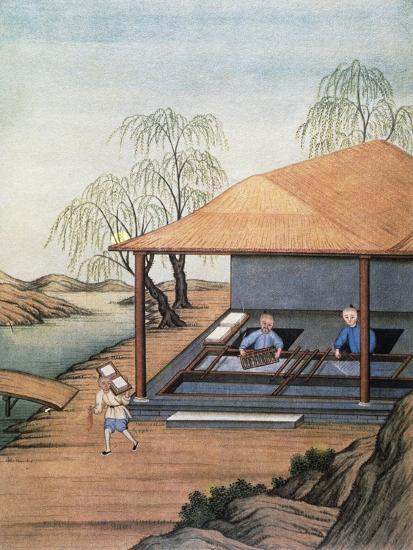 Old Paper Mill, Colour Print, China, 18th Century--Giclee Print