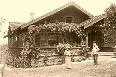 Old People with Craftsman House--Art Print