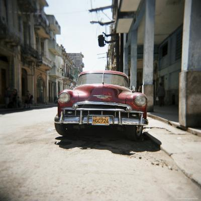 Old Red American Car, Havana, Cuba, West Indies, Central America-Lee Frost-Photographic Print