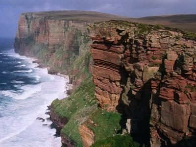 Old Red Sandstone Cliffs Toward St. Johns Head, Hoy, Orkney Islands, Scotland-Grant Dixon-Photographic Print