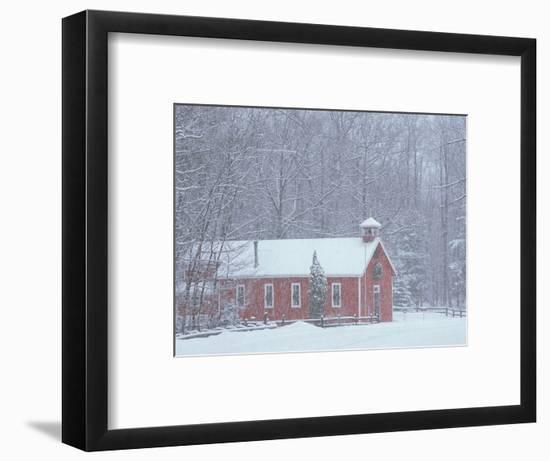 Old Red Schoolhouse and Forest in Snowfall at Christmastime, Michigan, USA-Mark Carlson-Framed Photographic Print