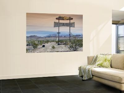 Old Restaurant Sign at Route 66 Near Chambless with Marble Mountains in Distance-Witold Skrypczak-Giant Art Print