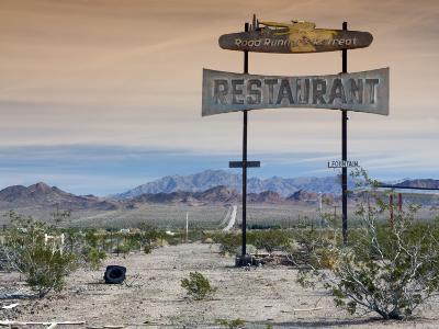 Old Restaurant Sign at Route 66 Near Chambless with Marble Mountains in Distance-Witold Skrypczak-Photographic Print