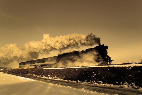 Old Retro Steam Train-remik44992-Photographic Print