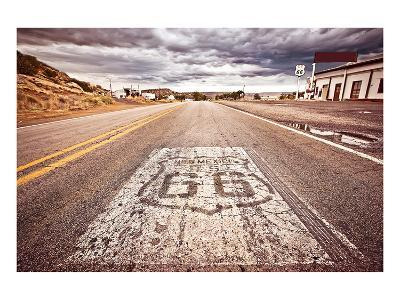 Old Route 66 Shield on Road--Art Print