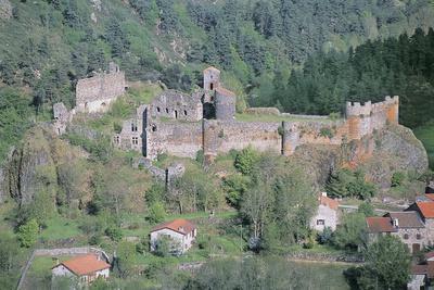 Old Ruins of a Castle, Arlempdes Castle, Auvergne, France--Photographic Print