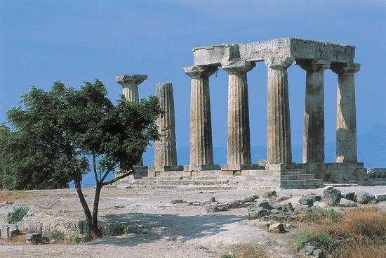 Old Ruins of a Temple, Temple of Apollo, Corinth, Peloponnesus, Greece--Giclee Print