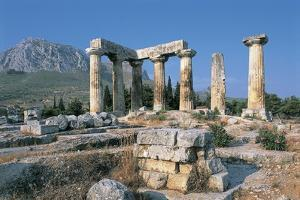 Old Ruins of a Temple, Temple of Apollo, Corinth, Peloponnesus, Greece