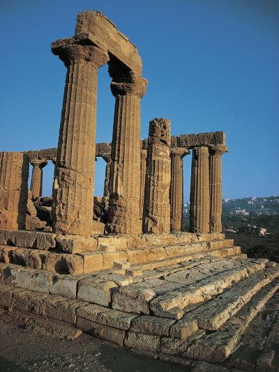 Old Ruins of a Temple, Temple of Juno Lacinia, Valley of the Temples, Agrigento, Sicily, Italy--Photographic Print