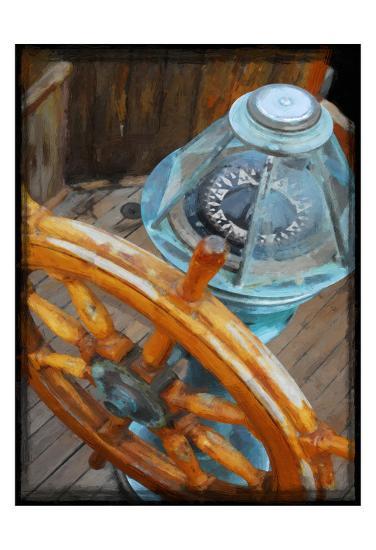 Old Sailboat's Ship Wheel-Suzanne Foschino-Art Print