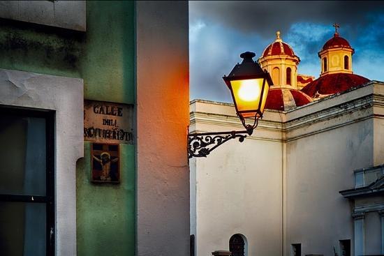 Old San Juan Street Corner With A Cathedral-George Oze-Photographic Print