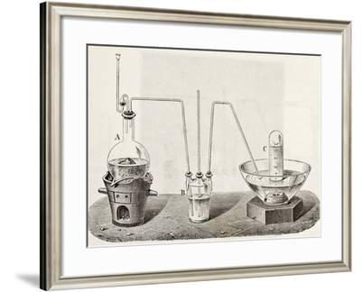 Old Schematic Illustration Of Laboratory Apparatus For Oxygen Production-marzolino-Framed Art Print