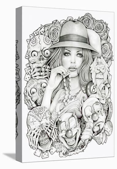 Old School Girl-Mouse Lopez-Stretched Canvas Print