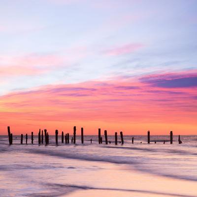 Old Sea Defences at Dawn, Smooth Water from Long Exposure-Travellinglight-Photographic Print