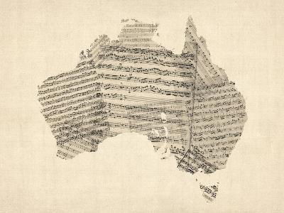 Old Sheet Music Map of Australia Map-Michael Tompsett-Art Print