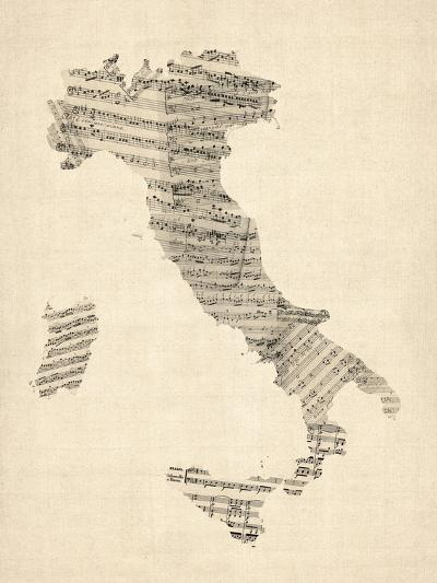 Old Sheet Music Map of Italy Map-Michael Tompsett-Art Print