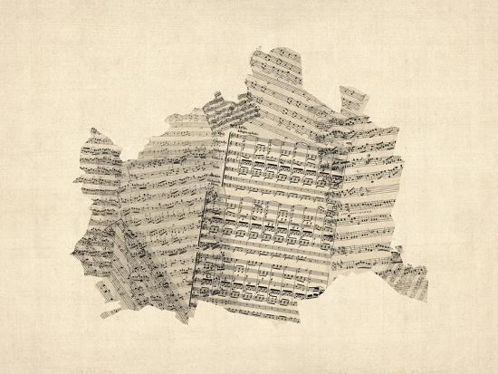 Old Sheet Music Map of Vienna Austria Map-Michael Tompsett-Art Print