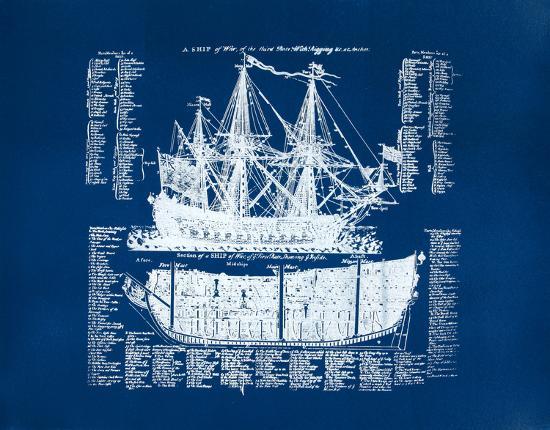 Old Ship Diagram (blue)-Kyle & Courtney Harmon-Serigraph