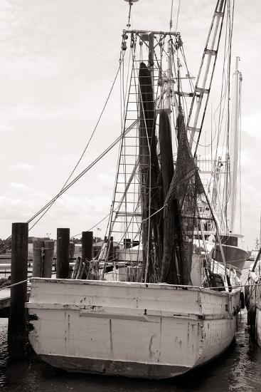 Old Shrimp Boat in Marina-R. Peterkin-Photographic Print