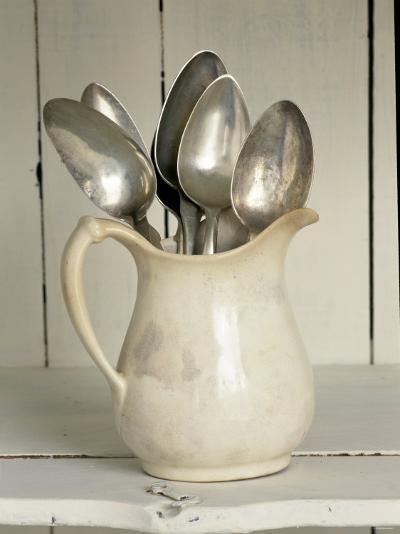 Old Silver Spoon in Light Coloured Ceramic Jug-Ellen Silverman-Photographic Print