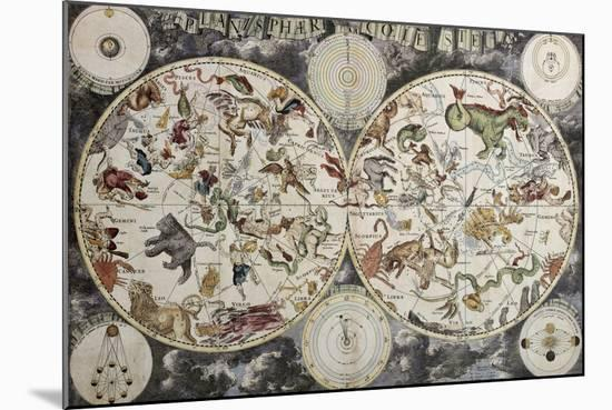 Old Sky Map Depicting Boreal And Austral Hemispheres With Constellations And Zodiac Signs-marzolino-Mounted Art Print