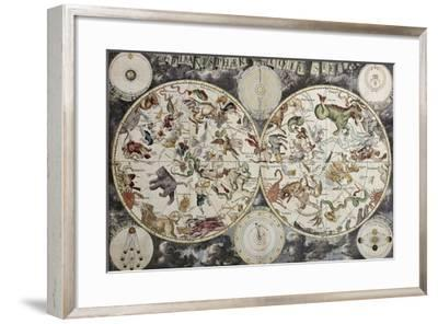 Old Sky Map Depicting Boreal And Austral Hemispheres With Constellations And Zodiac Signs-marzolino-Framed Art Print