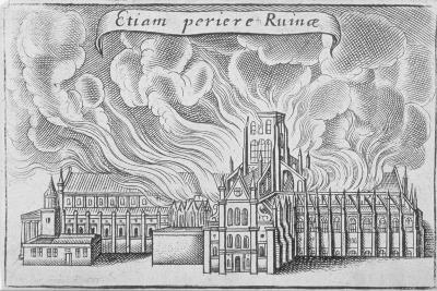Old St Paul's Cathedral Burning in the Great Fire of London, 1666-Wenceslaus Hollar-Giclee Print