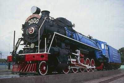 Old Steam Locomotive, Now Monument to Trans-Siberian Railway Line, in Square in Novosibirsk, Russia--Photographic Print