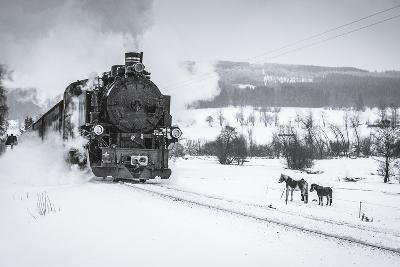Old Steam Train Puffing across Winter Landscape in Sudeten between Czech Republic and Germany. Vint-Tomas Kulaja-Photographic Print