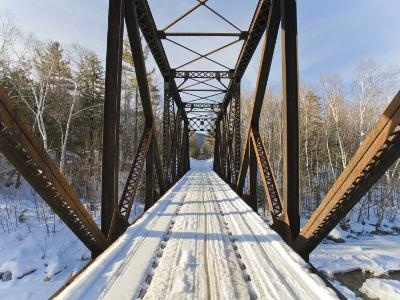 Old Steel Bridge Covered in Snow in the White Mountains in New Hampshire-Mike Theiss-Photographic Print
