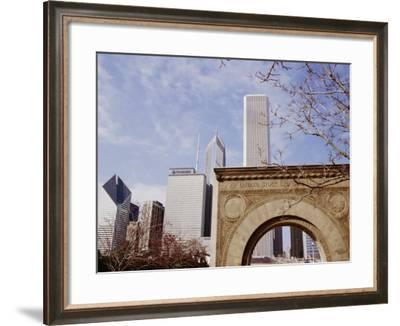 Old Stock Exchange Arch and Downtown Skyscrapers, Chicago, Illinois, USA-Jenny Pate-Framed Photographic Print