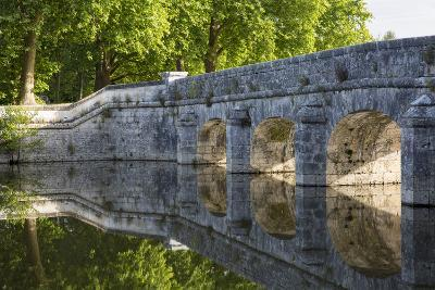 Old Stone Bridge Reflecting in River Cosson at Chateau Chambord, Loire Valley, France-Brian Jannsen-Photographic Print