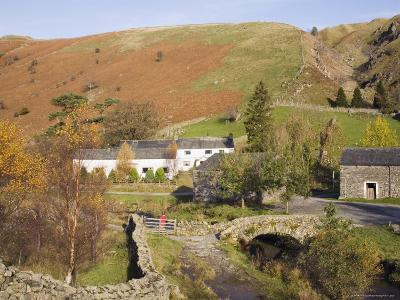 Old Stone Packhorse Bridge Over Watendlath Beck with Dry Stone Wall and Farm Buildings-Pearl Bucknall-Photographic Print