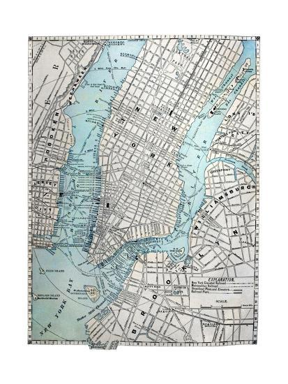 Street Map Of New York City.Old Street Map Of New York City Art Print By Tektite Art Com