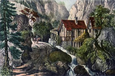 Old Swiss Mill, 1872-Currier & Ives-Giclee Print