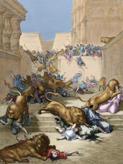 Old Testament. People Devoured by Lions in Samaria-Gustave Dore-Giclee Print