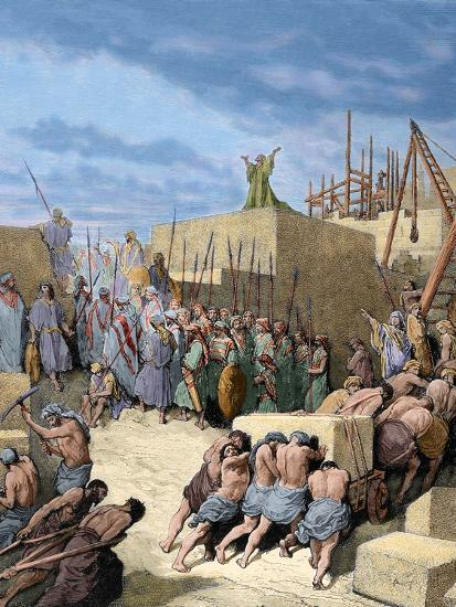 Old Testament. Return from the Babylonian Exile. Reconstruction of the Temple. Engraving. Colored.-Tarker-Photographic Print