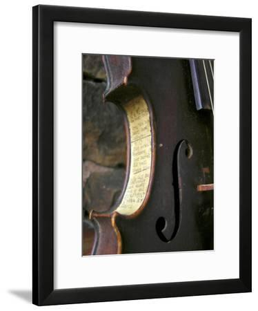 Old Time Song Titles are Pasted onto the Side of an Antique Fiddle-White & Petteway-Framed Photographic Print