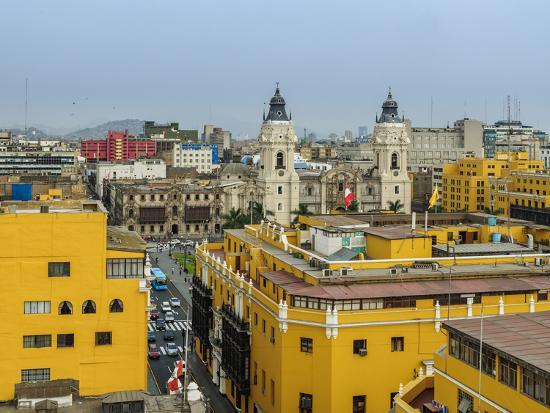 Old Town and Cathedral, elevated view, Lima, Peru, South America-Karol Kozlowski-Photographic Print