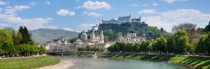 Old Town at Salzach River with Hohensalzburg Castle and Dom Cathedral, Salzburg