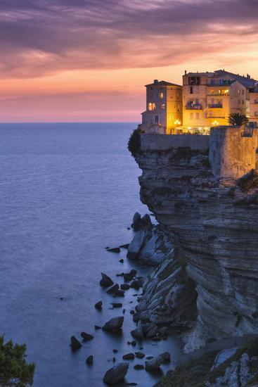 Old Town Buildings Perched on Cliff-Jon Hicks-Photographic Print