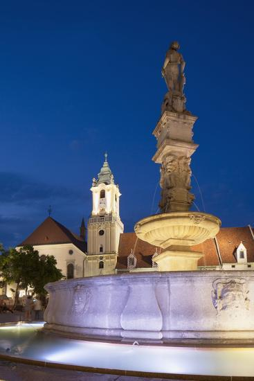 Old Town Hall and Roland's Fountain in Hlavne Nam (Main Square) at Dusk-Ian Trower-Photographic Print
