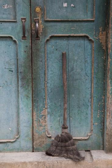 Old Town of Xingping Along the Li River, Doorway and Broom-Darrell Gulin-Photographic Print