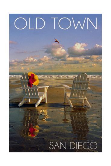 Old Town - San Diego, California - Adirondack Chairs on Beach-Lantern Press-Art Print