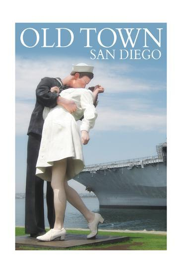 Old Town - San Diego, California - Sailor Sculpture at USS Midway-Lantern Press-Art Print