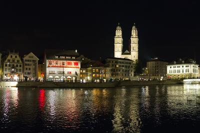 Old Town Zurich, Grossmunster Cathedral, and the Limmat River-Greg Dale-Photographic Print