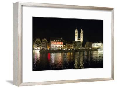 Old Town Zurich, Grossmunster Cathedral, and the Limmat River-Greg Dale-Framed Photographic Print